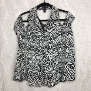 Material Girl Black white cold shoulder collared M